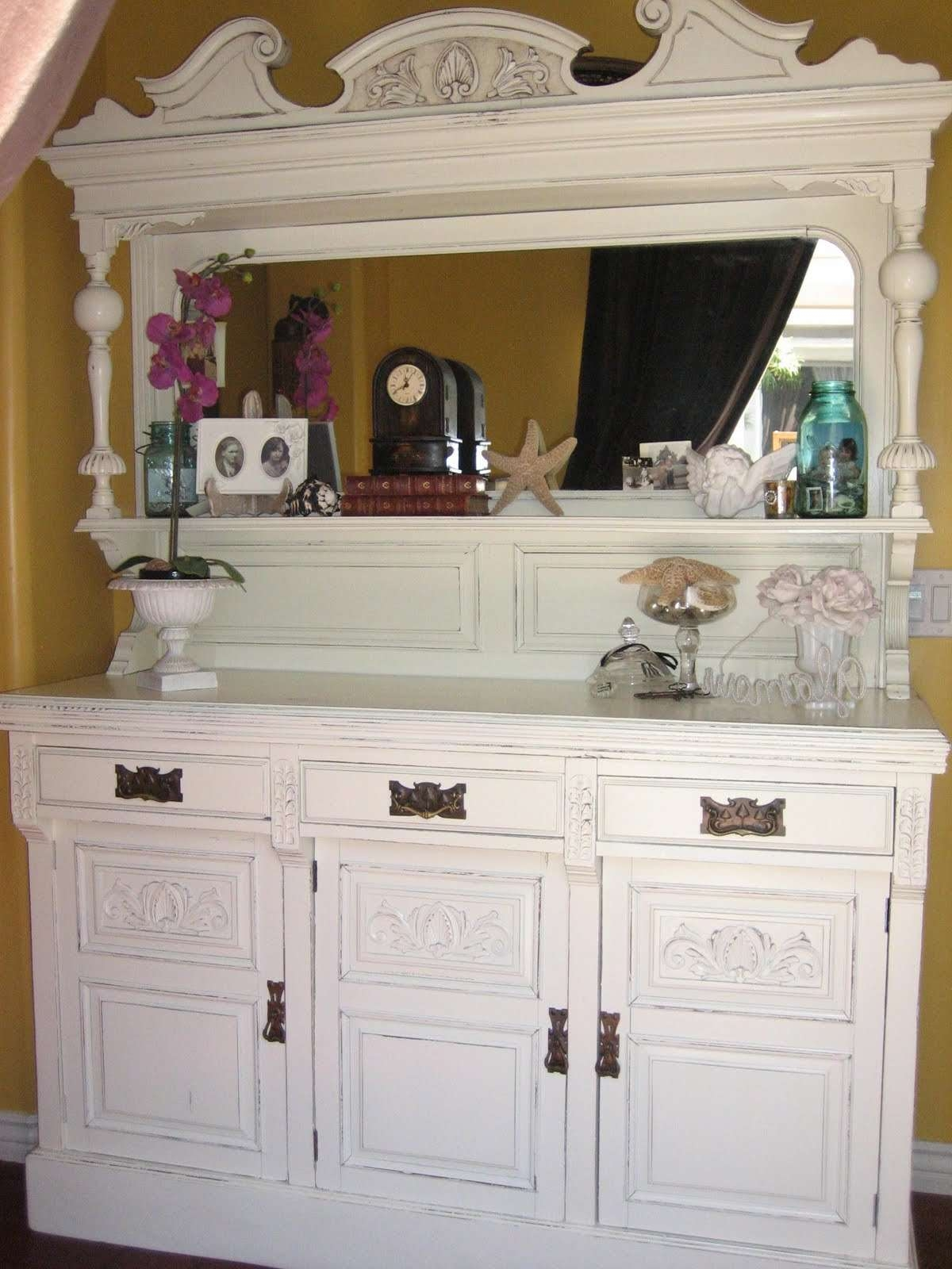 European Paint Finishes: ~antique Sideboard W/ Mirror~ With Antique Sideboards With Mirror (View 18 of 20)