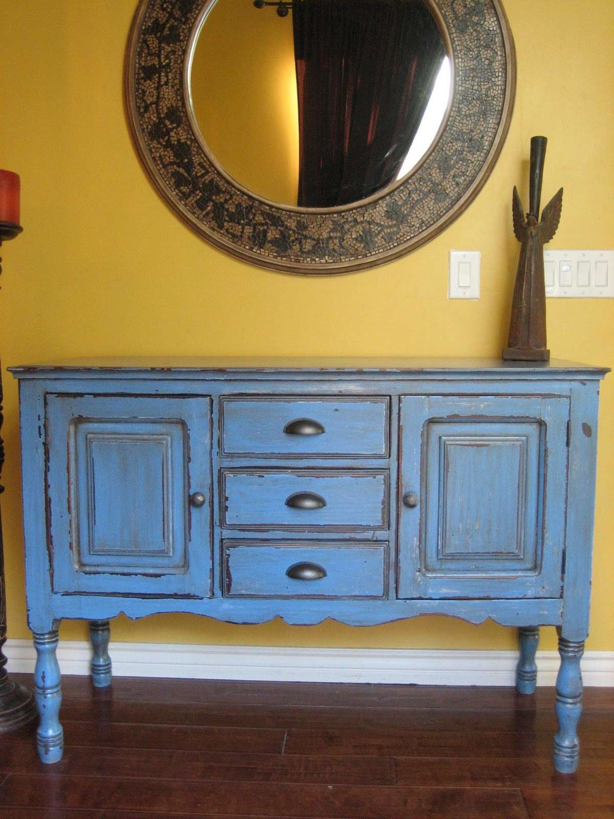 European Paint Finishes: ~ Rustic Blue Buffet ~ For Blue Buffet Sideboards (Gallery 15 of 20)