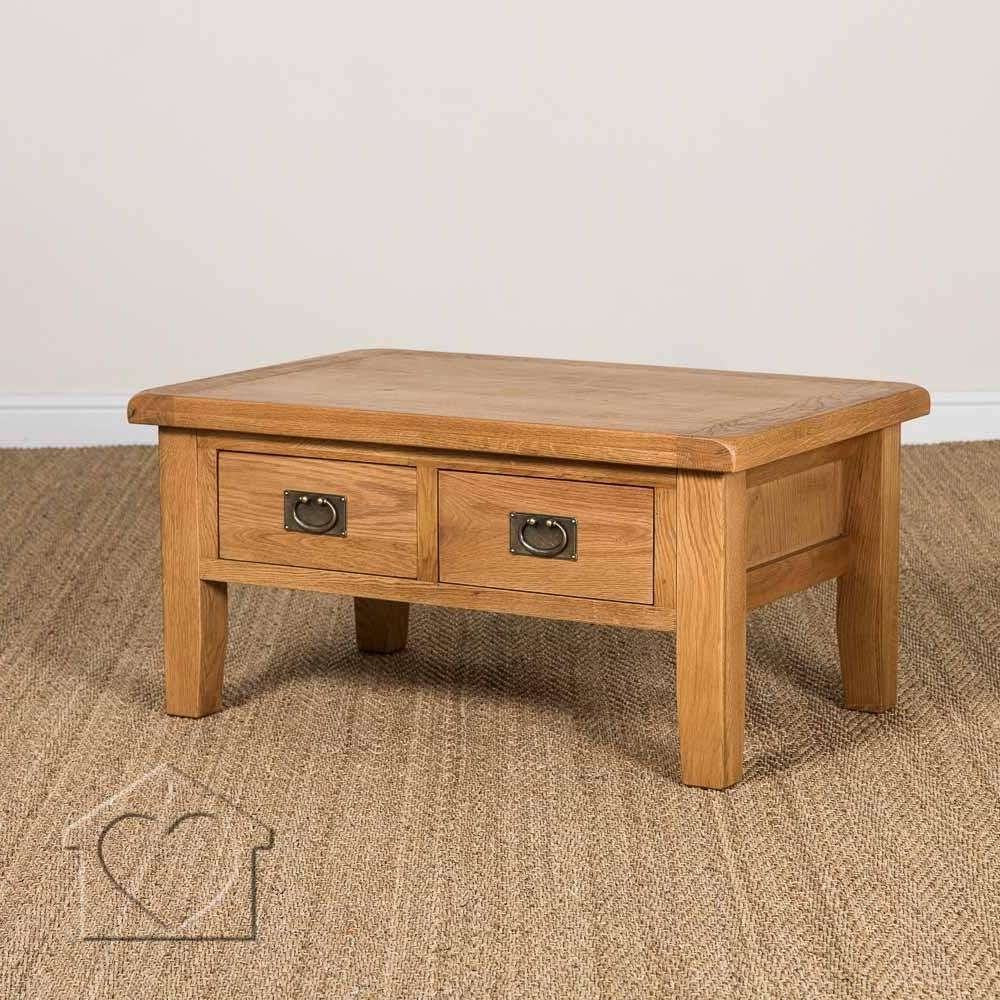 Evesham Oak 2 Drawer Coffee Table Without Shelf – £219.00 – A With Regard To Well Known Rustic Oak Coffee Table With Drawers (Gallery 10 of 20)