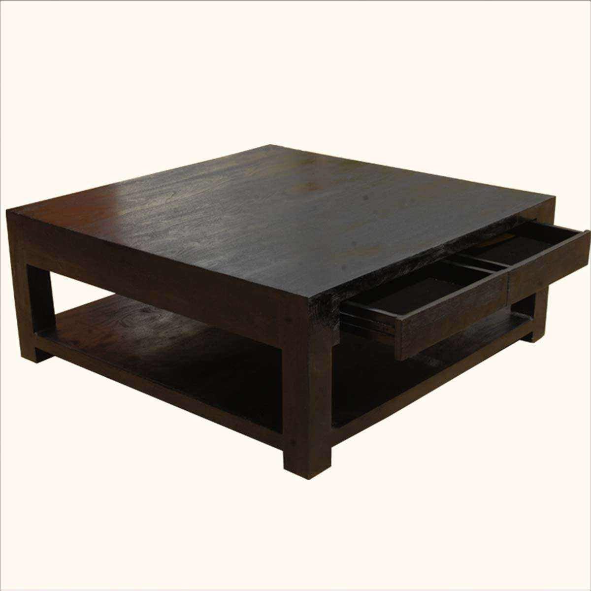 Excellent Square Coffee Tables With Storage Pictures Decoration Throughout Recent Dark Wood Square Coffee Tables (View 11 of 20)