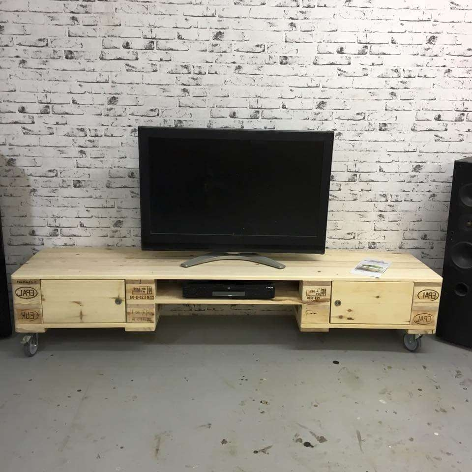 Extra Long Pallet Media Stand With Storage Low Tv Cabinets Tall Throughout Long Tv Cabinets Furniture (Gallery 19 of 20)