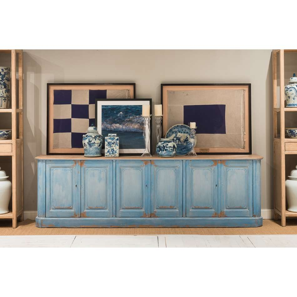 Extra Long Sky Blue Sideboard – Farmhouse Chic Regarding Extra Long Sideboards And Buffets (View 4 of 20)