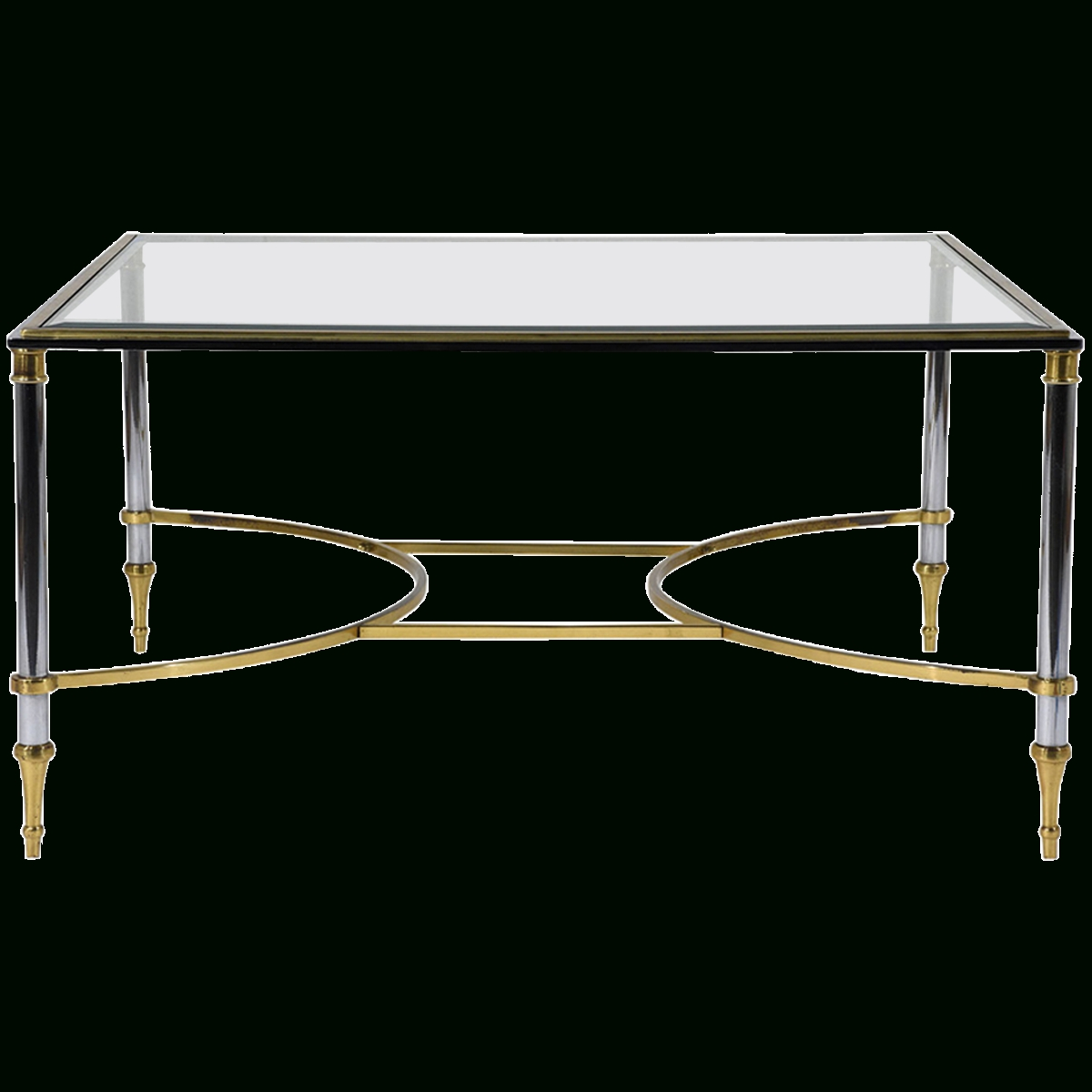 Famous Antique Brass Glass Coffee Tables Intended For Viyet – Designer Furniture – Tables – Vintage Jansen Style Chrome (View 11 of 20)