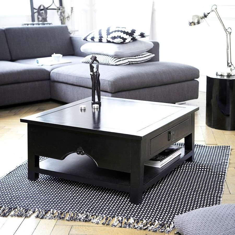 Famous Black Coffee Tables With Storage Within Black Square Coffee Table : Square Coffee Tables With The Storage (View 10 of 20)