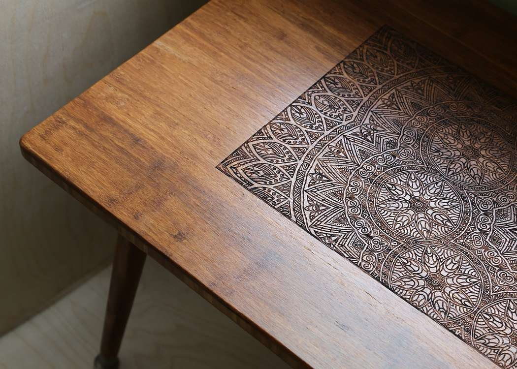 Famous Boho Coffee Tables With Engraved Walnut Coffee Table Modern Wood Furniture (View 3 of 20)
