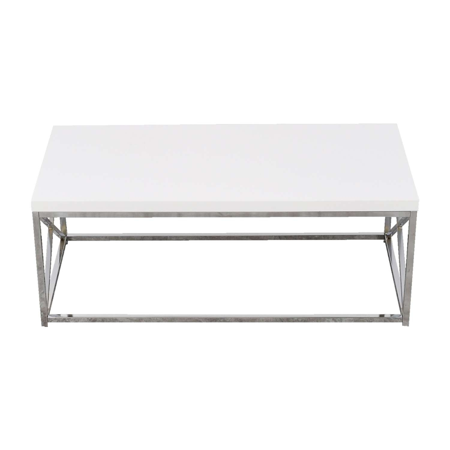 [%Famous Chrome Coffee Table Bases In 40% Off – White Top With Chrome Base Coffee Table / Tables|40% Off – White Top With Chrome Base Coffee Table / Tables Inside Fashionable Chrome Coffee Table Bases%] (View 1 of 20)