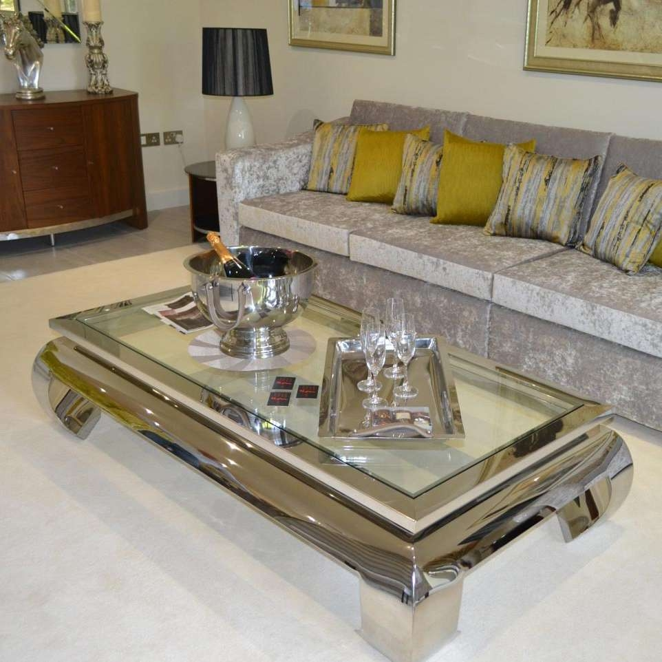 Famous Chrome Coffee Tables Pertaining To Terano Large Rectangular Polished Chrome & Glass Coffee Table (View 11 of 20)