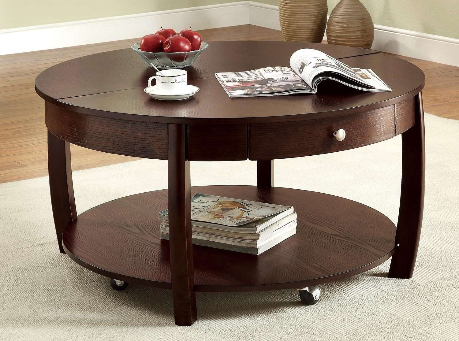 Famous Circular Coffee Tables With Storage Within Round Coffee Table Design Ideas — The Wooden Houses (View 11 of 20)