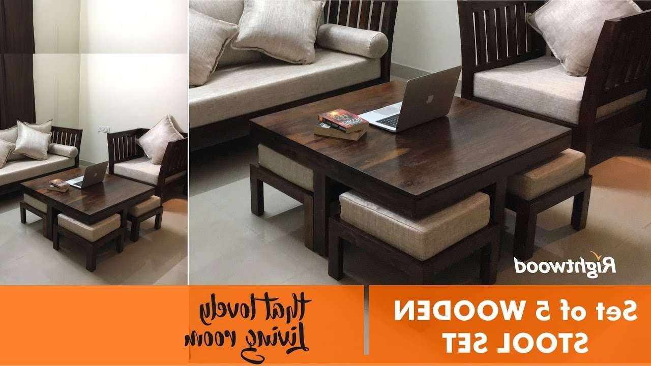 Famous Coffee Table With Stools For Space Saver & Economic Wooden Set Of 4 Stools And Coffee Table (View 7 of 20)