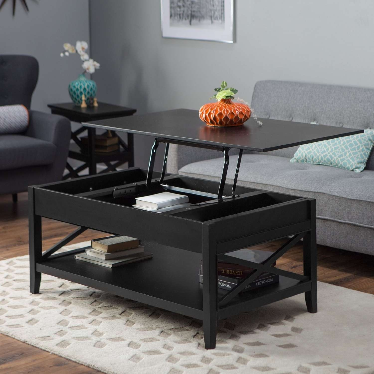 Famous Coffee Tables With Raisable Top Intended For Coffee Tables : Coffee Table With Storage And Lift Top Raisable (View 14 of 20)