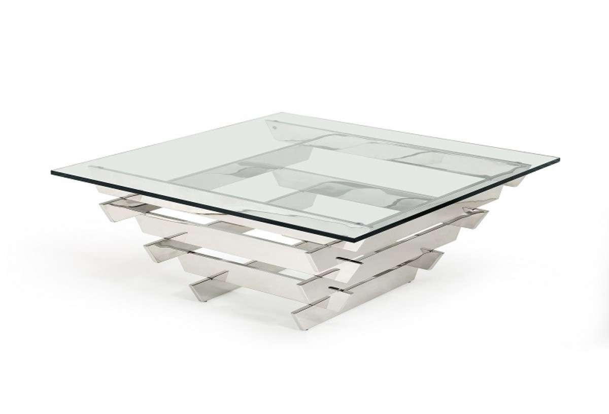 Famous Contemporary Glass Coffee Tables Inside Modrest Upton Modern Square Glass Coffee Table – Coffee Tables (View 12 of 20)