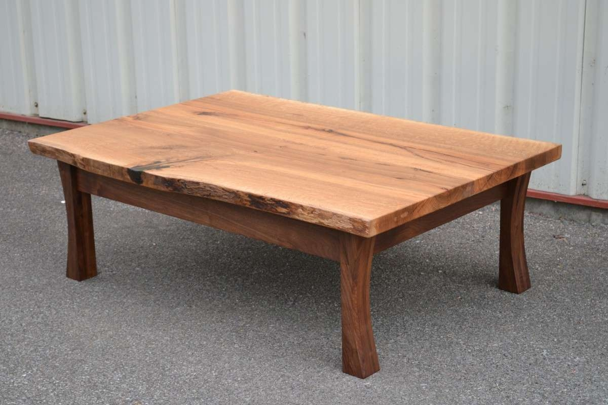 Famous Curve Coffee Tables Pertaining To Live Edge White Oak Coffee Table With Curved Walnut Legs (View 5 of 20)