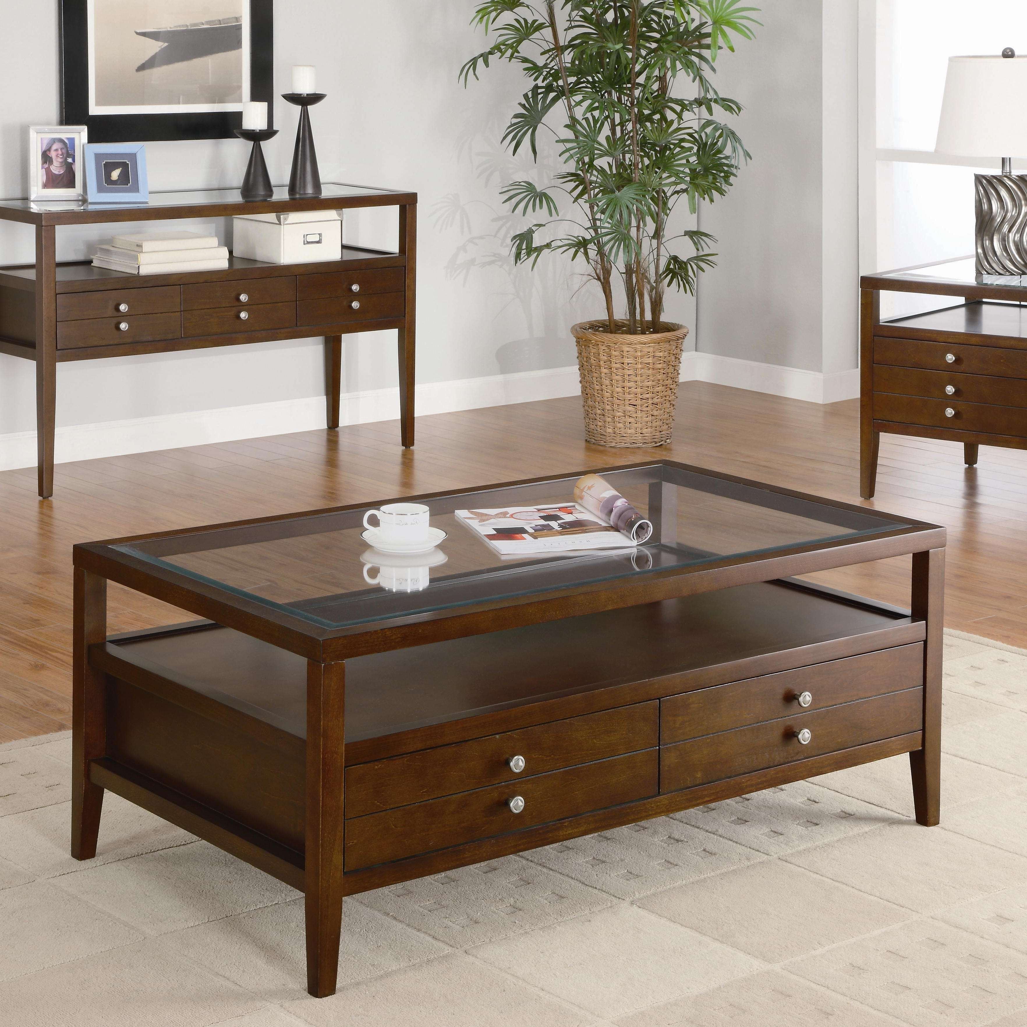 Famous Dark Wood Coffee Tables With Glass Top Regarding Living Room : Living Room Furniture Modern Coffee Tables And (View 5 of 23)
