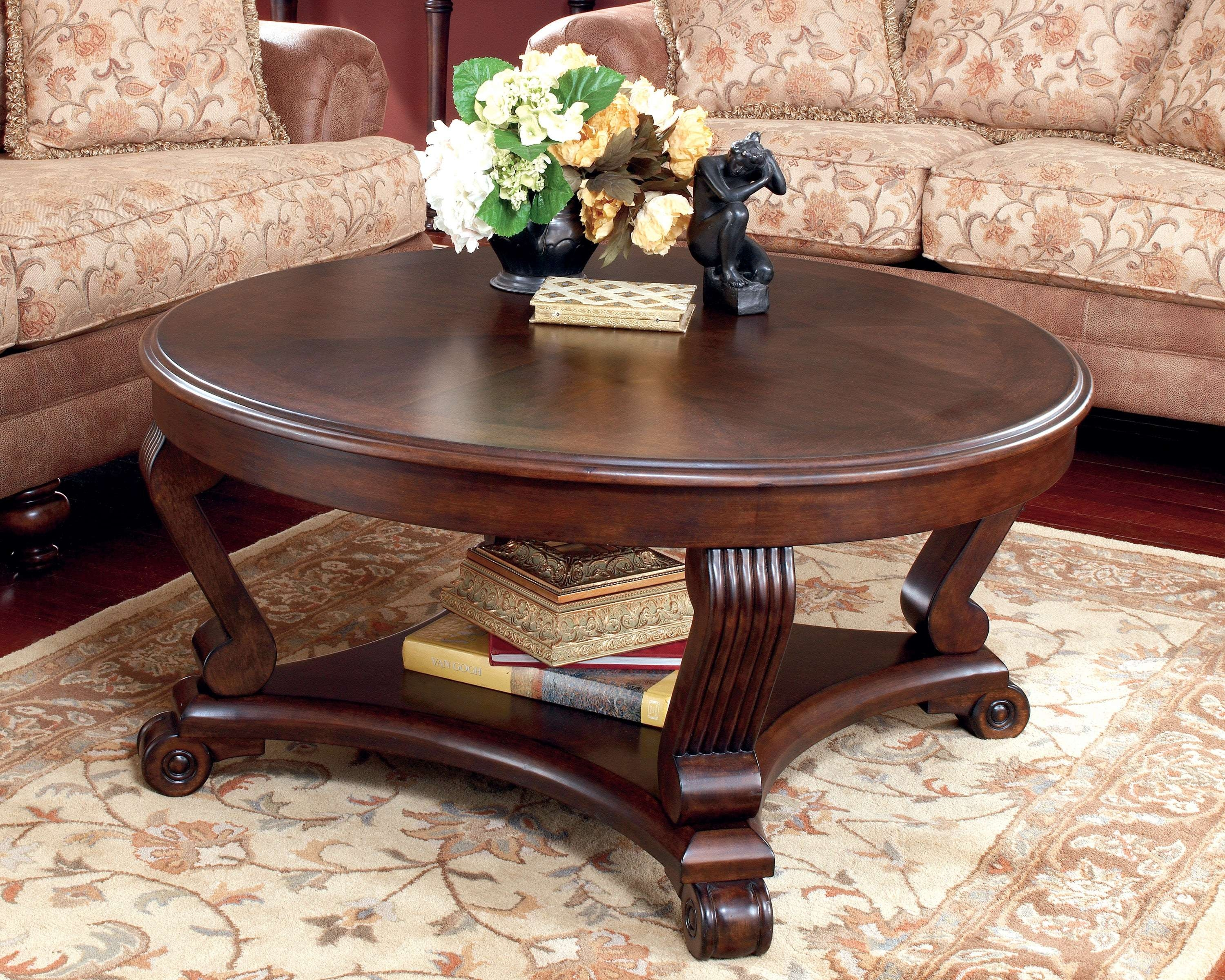 Famous Dark Wood Round Coffee Tables With Coffee Table And End Tables For Sale Brookfield Traditional Dark (View 7 of 20)