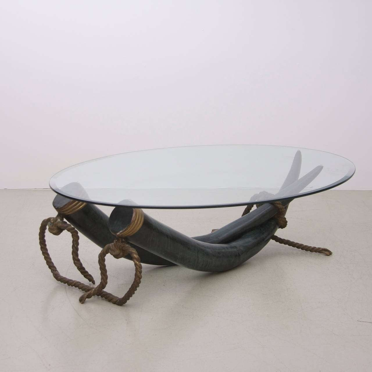 Famous Elephant Coffee Tables In Huge Bronze And Brass Elephant Tusk Coffee Tableitalo Valenti (View 12 of 20)