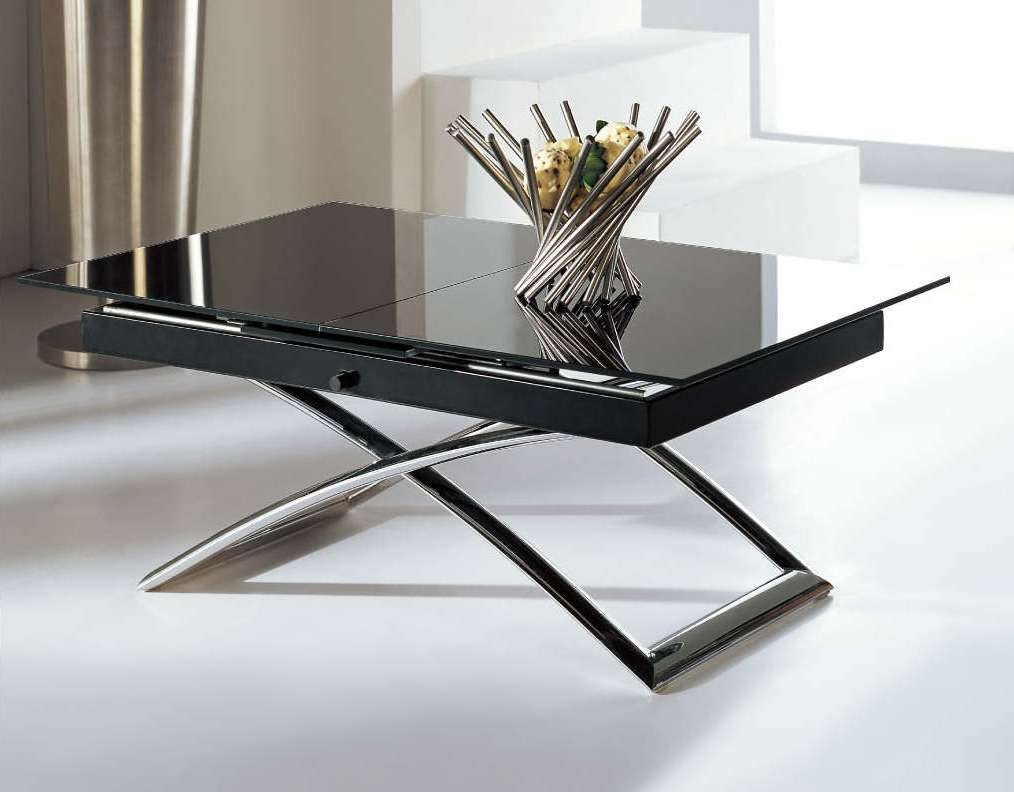 Famous Extendable Coffee Tables With Small Table – Glass Extensions Built In, Button Lowers To Coffee Table (View 9 of 20)