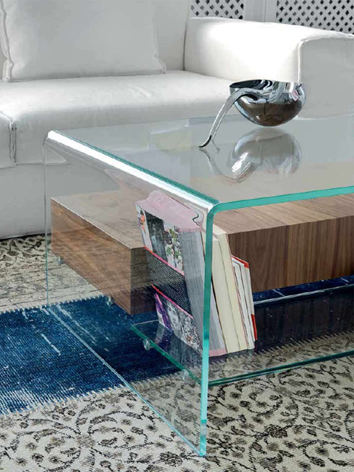 Famous Glass Coffee Tables With Shelf Regarding Bridge Glass And Wood Coffee Table With Drawer And Shelfsovet (View 5 of 20)