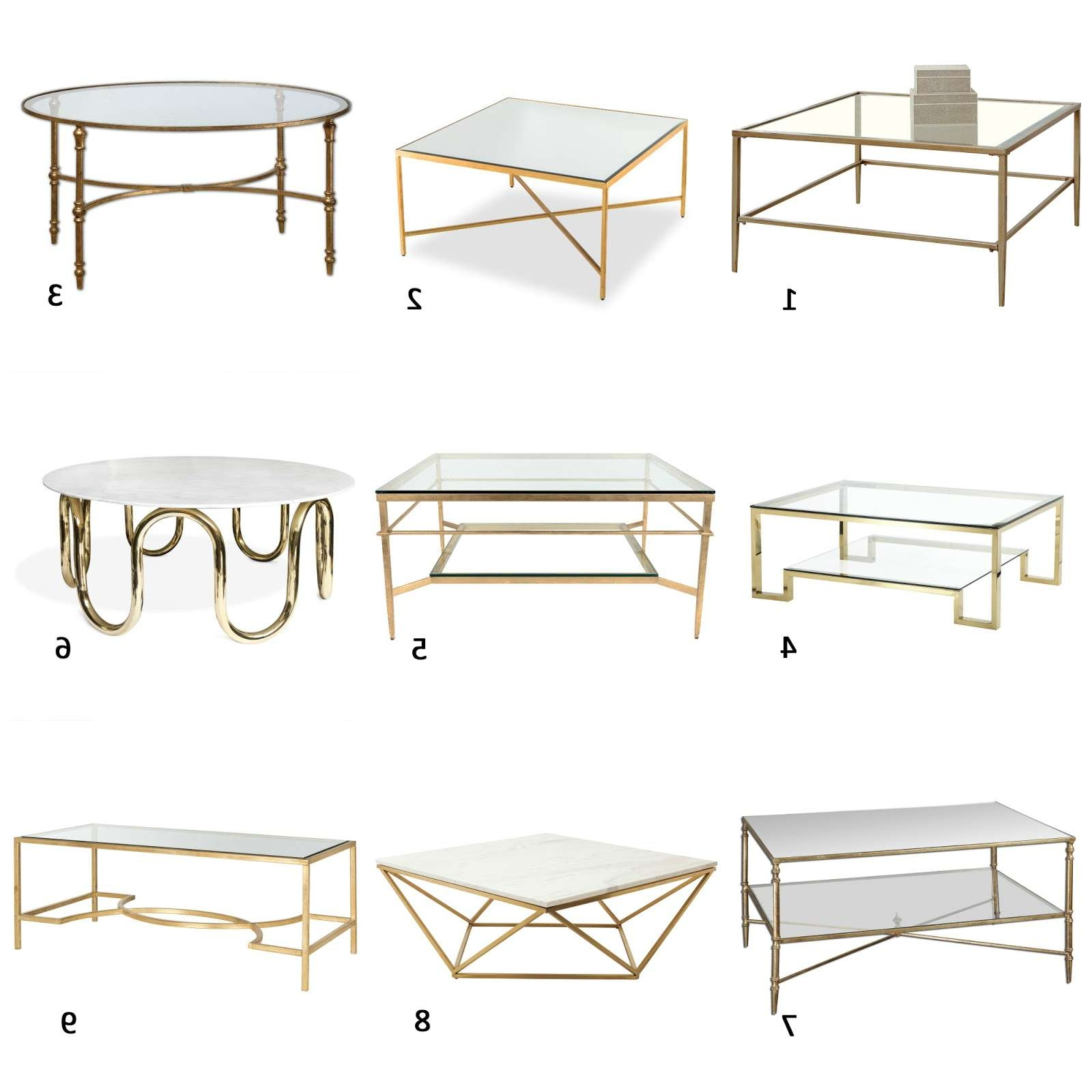 Famous Glass Gold Coffee Tables In Am Dolce Vita: A Roundup Of Brass And Glass Coffee Tables (View 18 of 20)