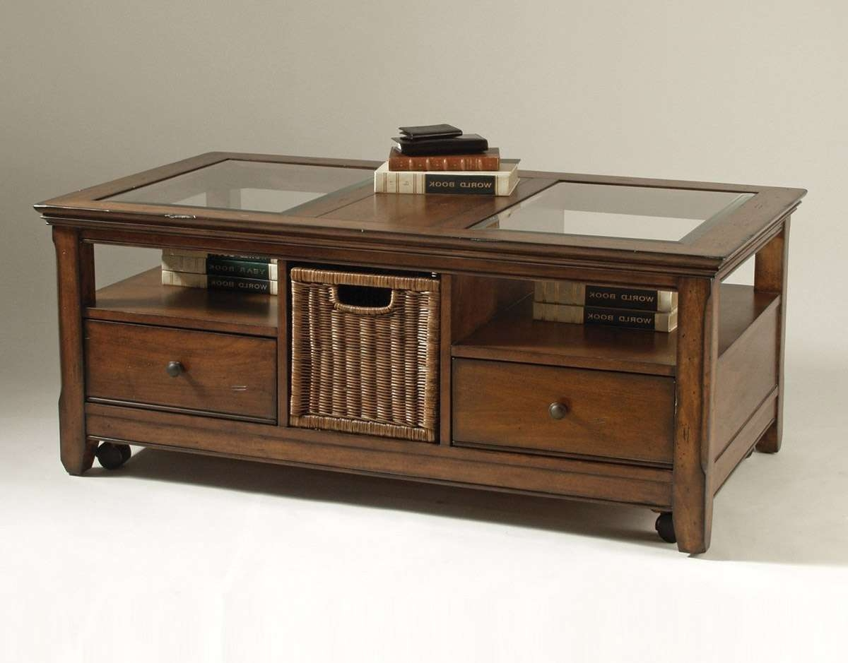 Famous Glass Top Display Coffee Tables With Drawers Regarding
