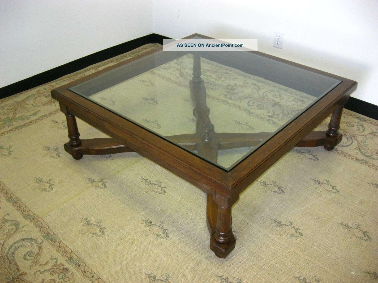Famous Glass Topped Coffee Tables Within Coffee Tables : Wood Top Coffee Table Skinny Iron And Glass Large (View 7 of 20)