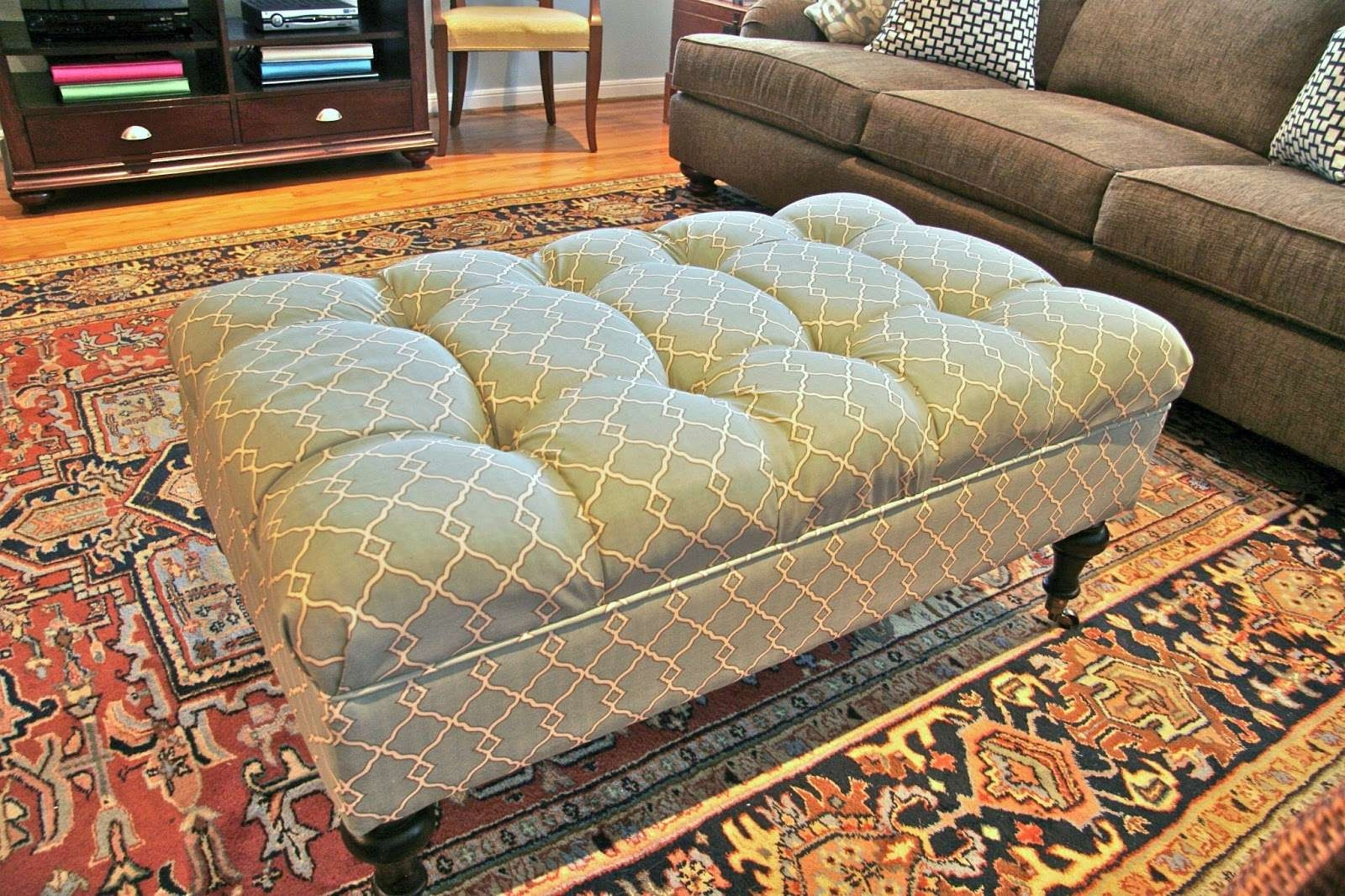 Famous Green Ottoman Coffee Tables Regarding Furniture: Teal Tufted Coffe Table With Storage Ottoman On (View 8 of 20)