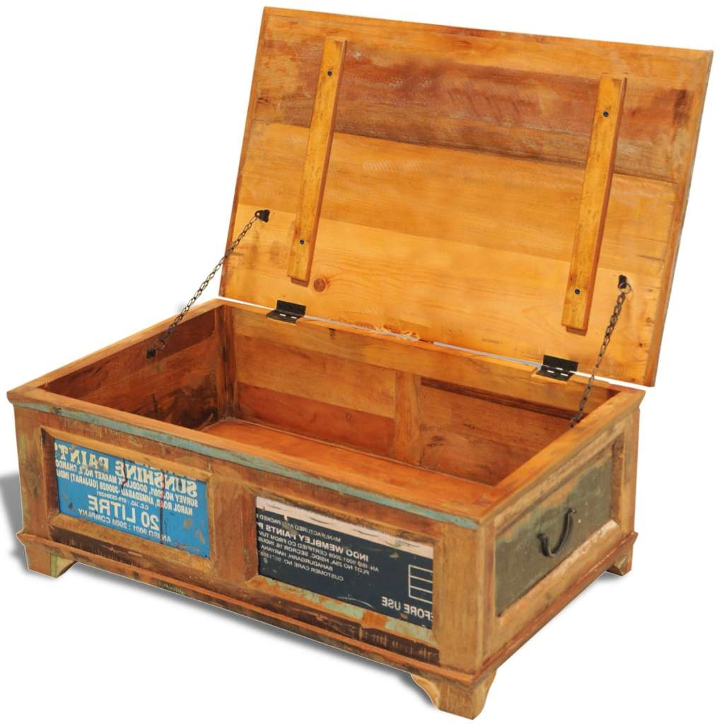 Famous Handmade Wooden Coffee Tables Intended For Large Solid Wooden Chest Trunk Storage Box Coffee Table Vintage (View 19 of 20)