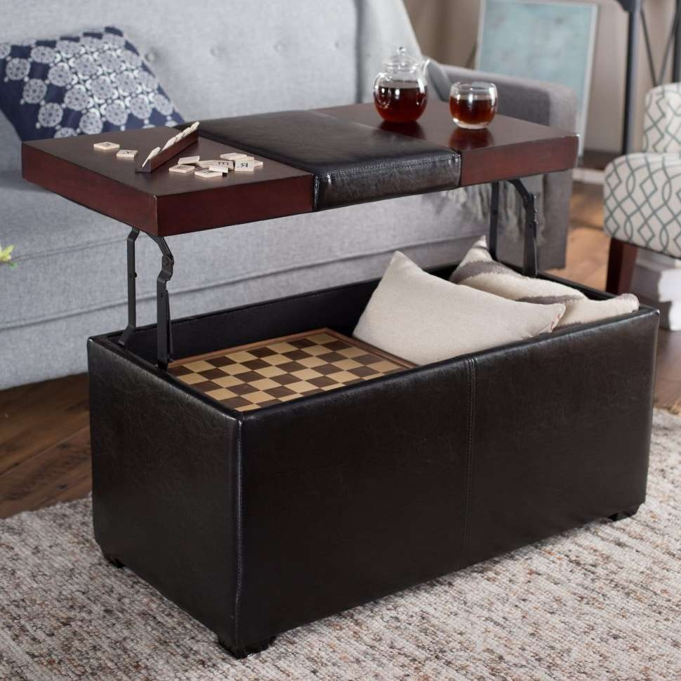 Famous Large Coffee Table With Storage With Regard To Coffee Tables : Large Ottoman Furniture Oversized Tufted Leather (View 9 of 20)