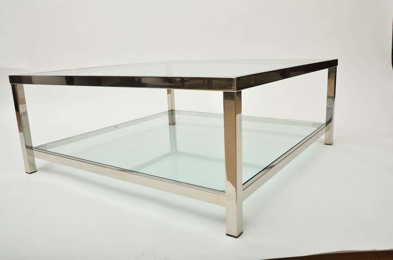 Famous Large Square Glass Coffee Tables Within Square Glass Coffee Table Canada Large A French Two Tiered Chrome (View 7 of 20)
