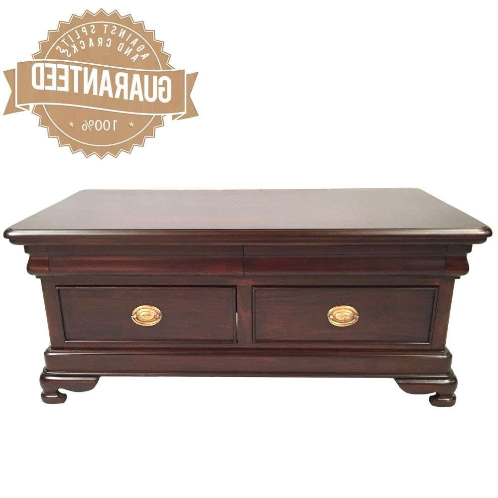 Famous Mahogany Coffee Tables Throughout Style Solid Mahogany Timber Coffee Table 4 Drawers  (View 13 of 20)