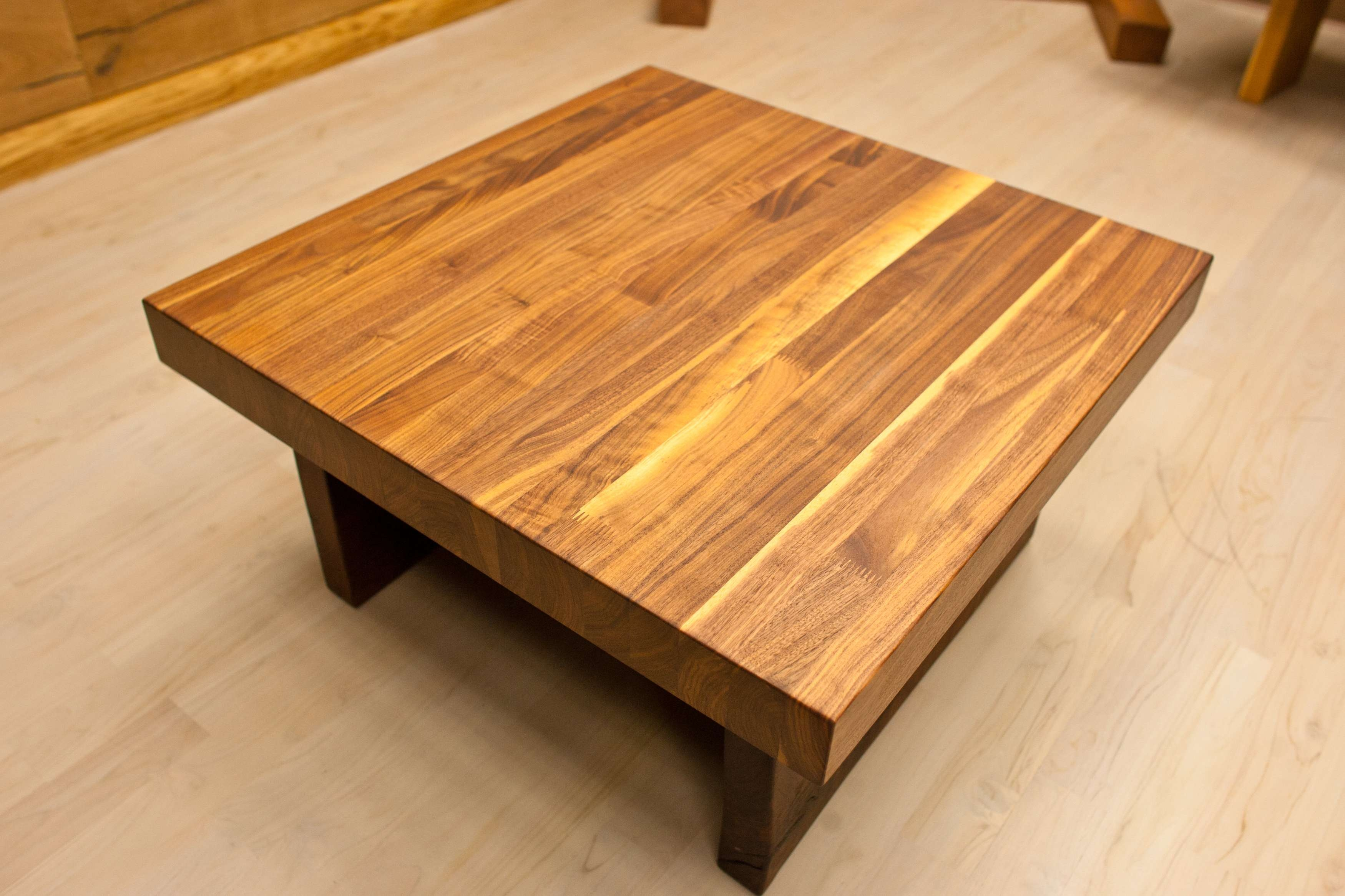 Famous Oak And Cream Coffee Tables Regarding Coffee Tables : Small And Low Square Wooden Butcher Block Coffee (View 8 of 20)