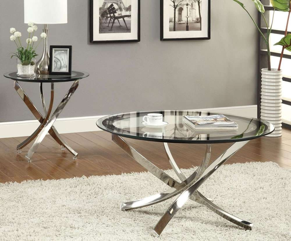 Famous Oval Mirrored Coffee Tables Throughout Oval Glass Top Mirrored Coffee Table With Stainless Steel Cross (View 8 of 20)