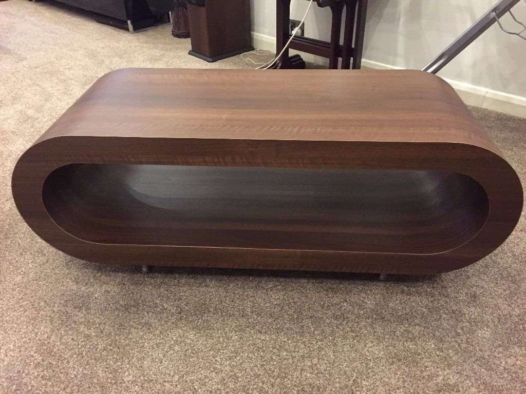 Famous Oval Walnut Coffee Tables Intended For Designer Oval Tv Stand / Coffee Table (Walnut) (Unused, As New In (View 6 of 20)
