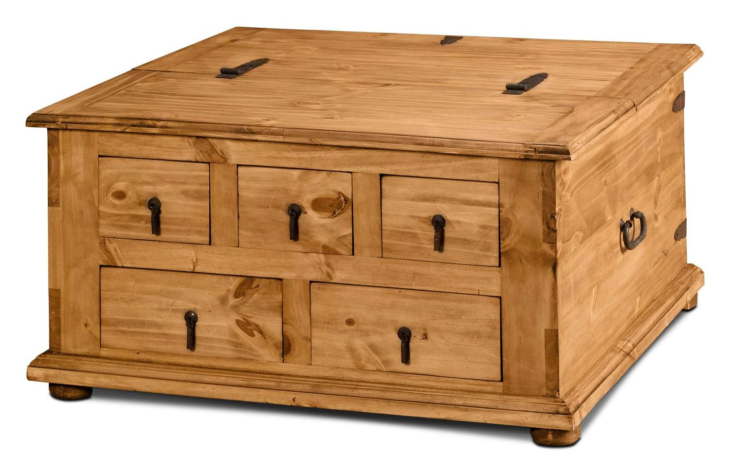 Famous Pine Coffee Tables With Storage In Santa Fe Rusticos Solid Pine Trunk Style Coffee Table With Storage (View 8 of 20)
