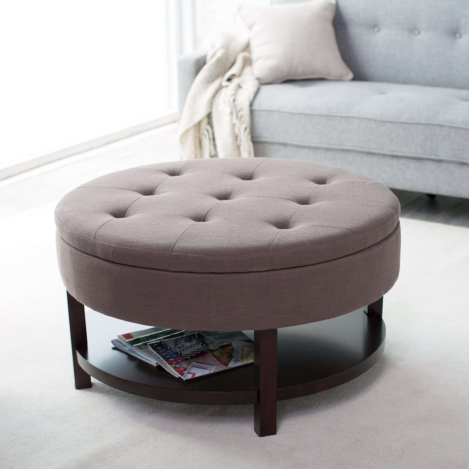 Famous Round Storage Coffee Tables In Coffee Table : Marvelous Brown Leather Ottoman Coffee Table Small (View 5 of 20)