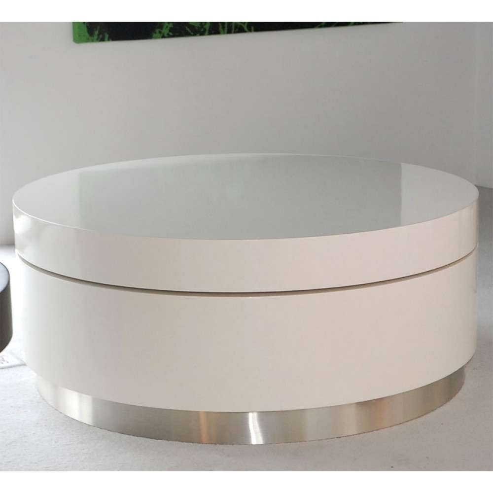 Famous Round Swivel Coffee Tables For Glass : Triplo Round Gloss Swivel Coffee Table Black Dwell  (View 8 of 20)