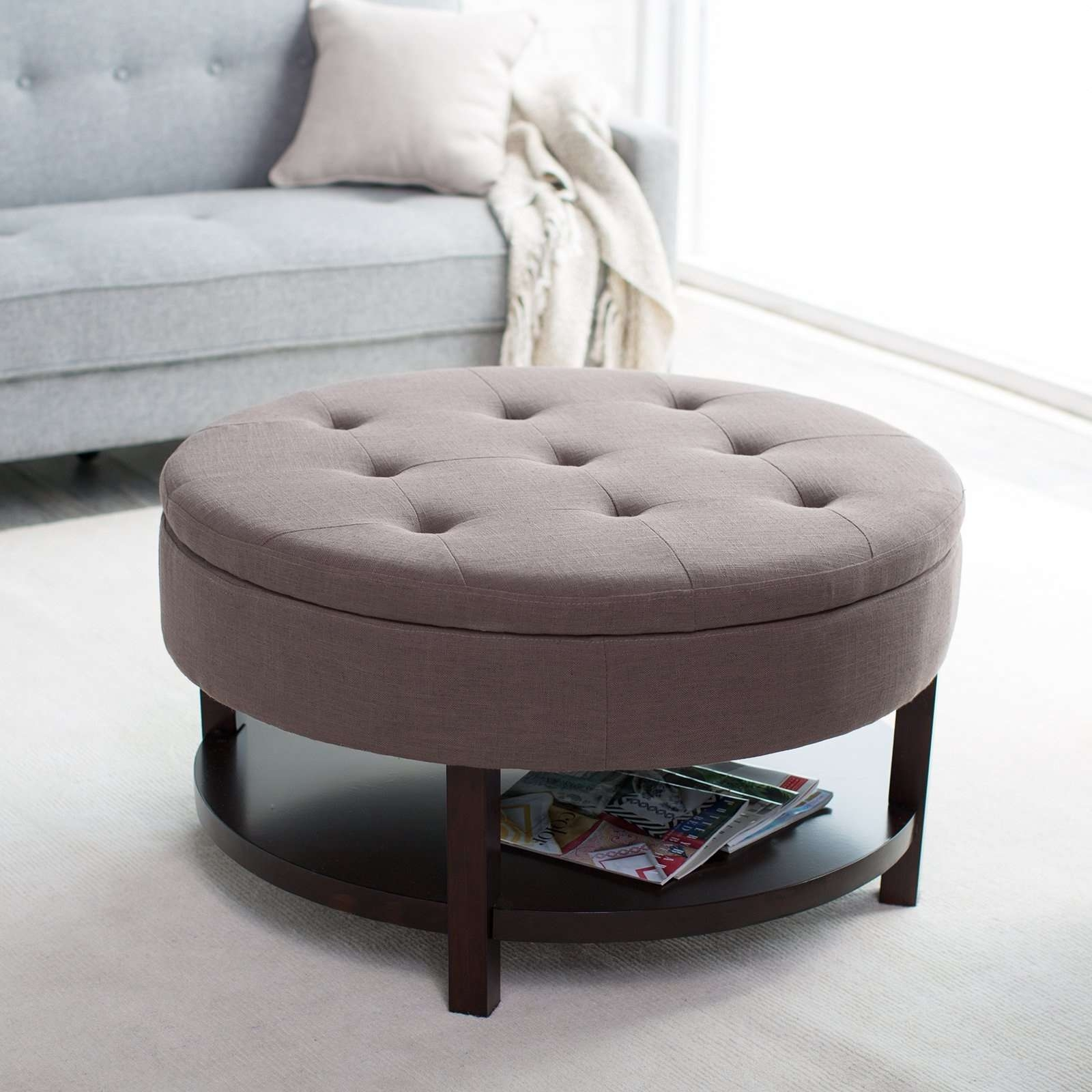 Famous Round Upholstered Coffee Tables In Large Round Storage Ottoman Coffee Table Leather Brown Color (View 11 of 20)