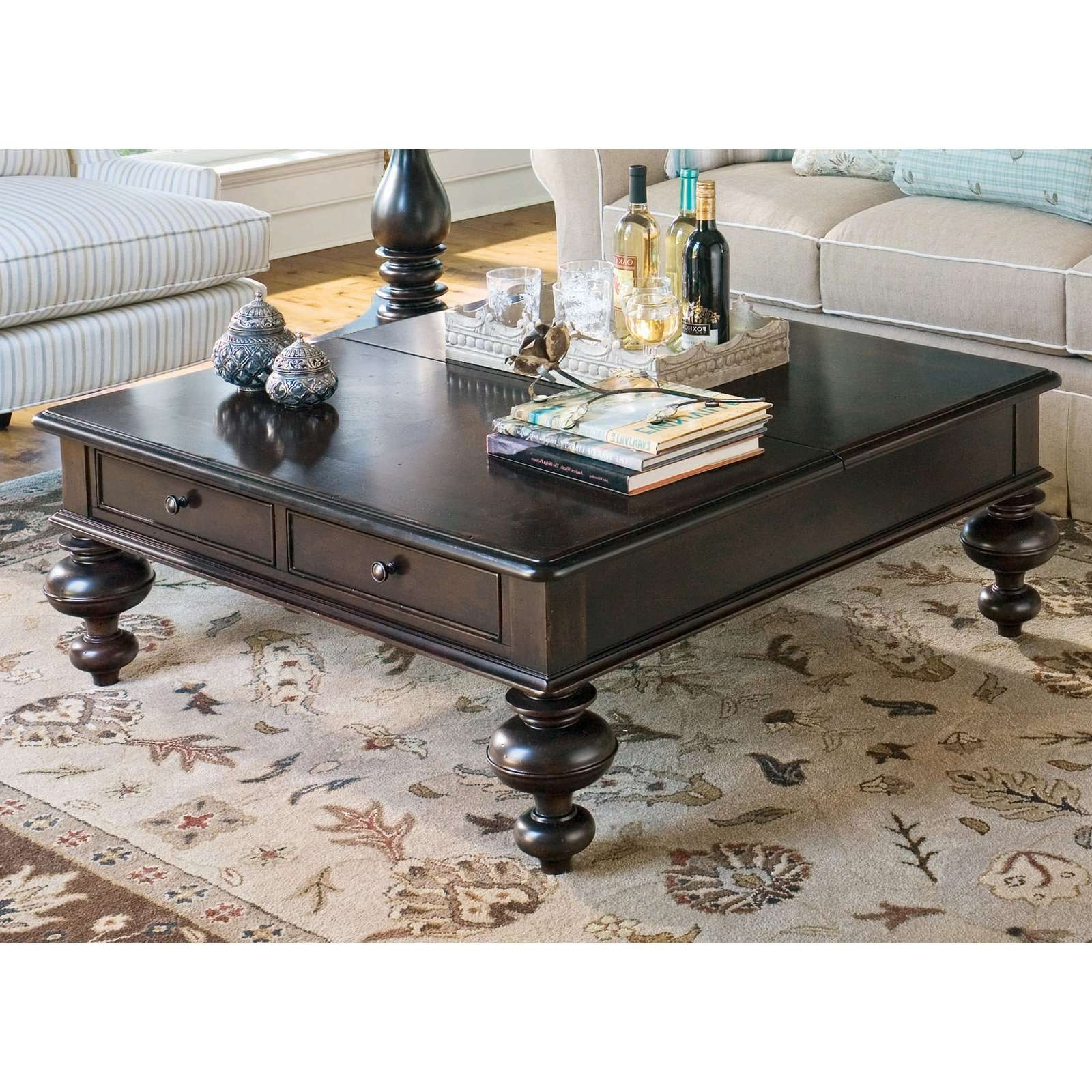 Famous Square Dark Wood Coffee Table Within Coffee Tables : Glass Top Wood Bottom Coffee Table Oak Uk Extra (View 6 of 20)