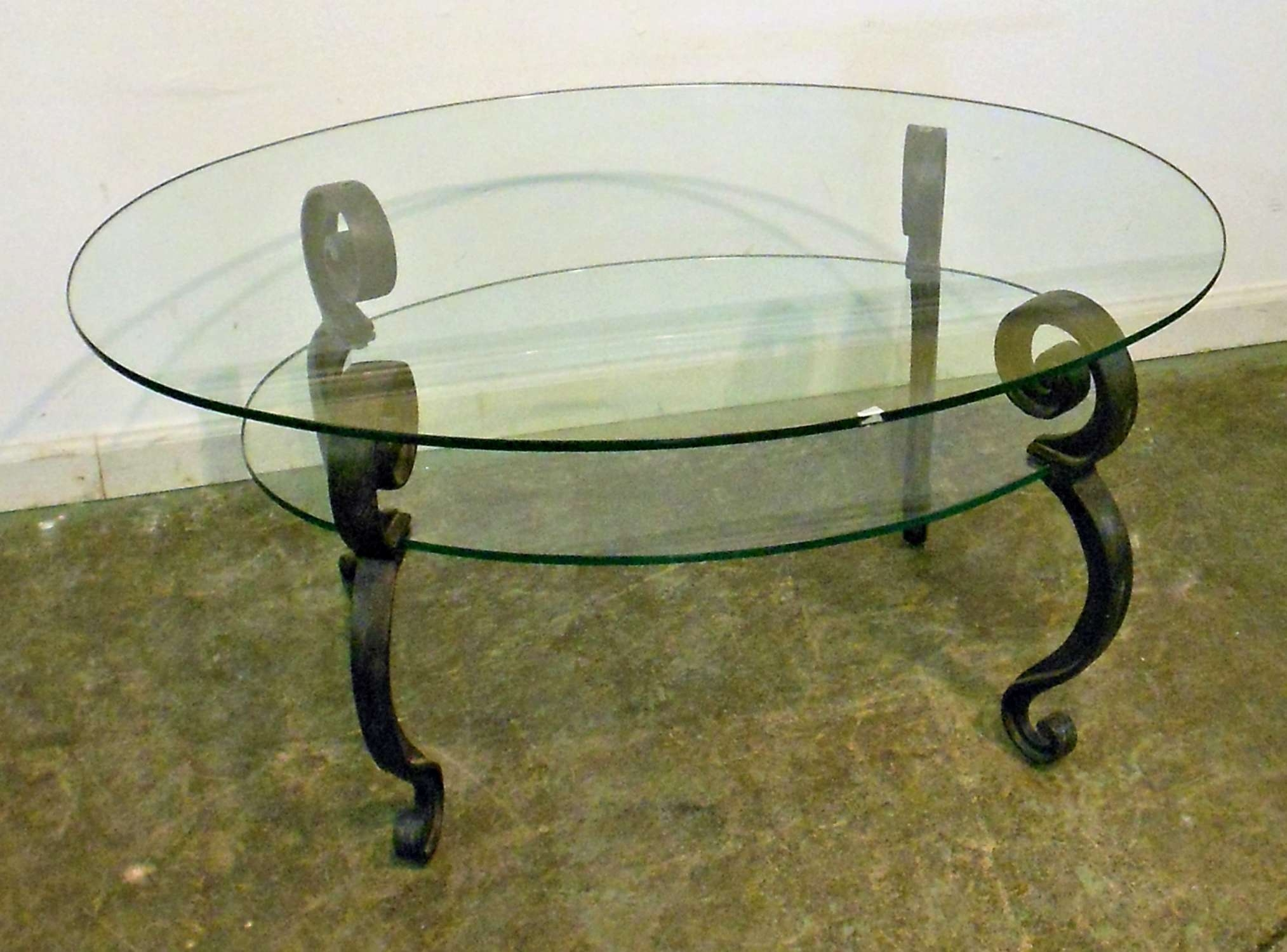 Famous Vintage Glass Top Coffee Tables Inside Vintage Glass Top Coffee Table With Black Metal Legs And Shelves (View 4 of 20)