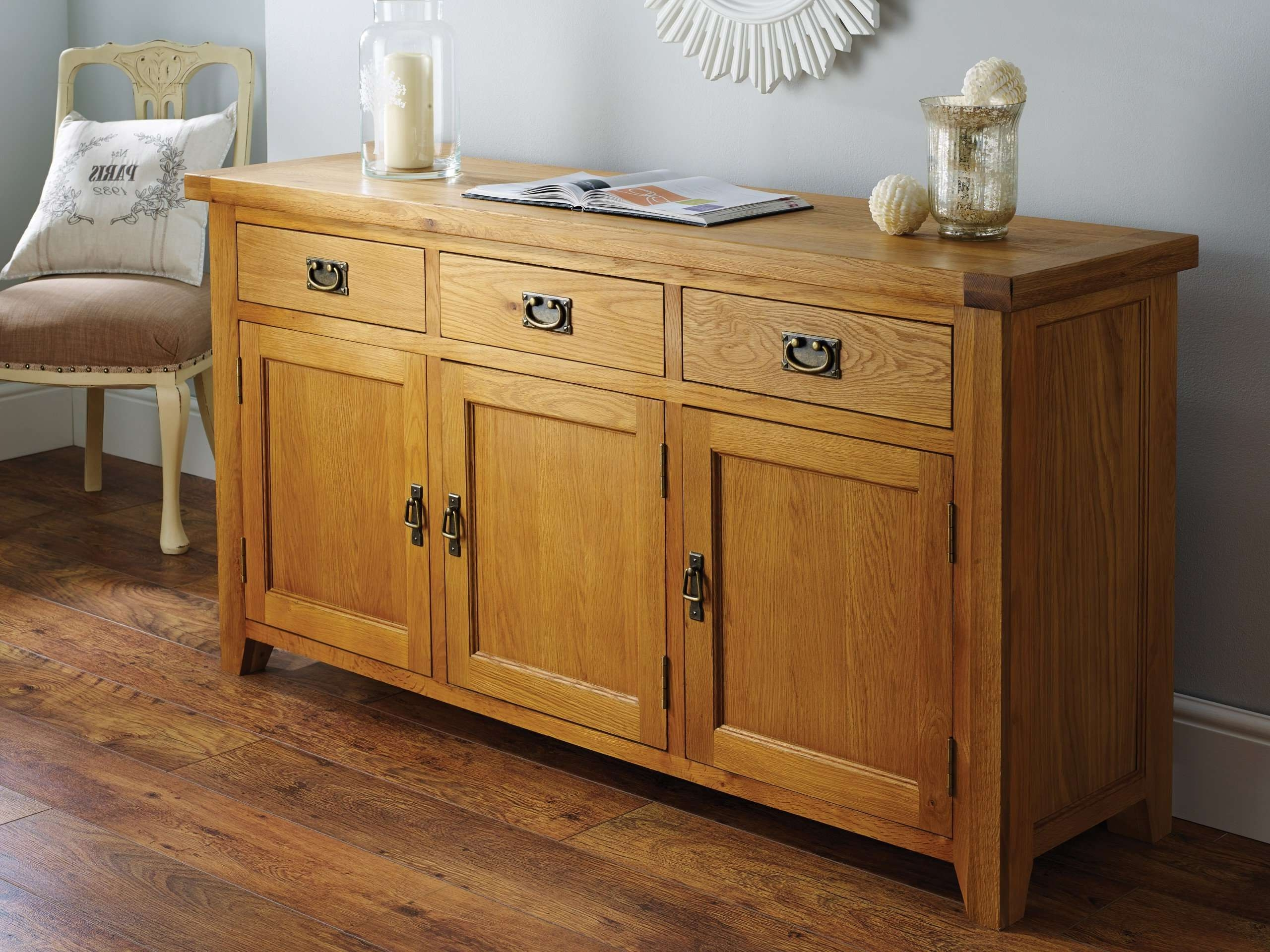 Farmhouse Country Oak 160cm Large Rustic Oak Sideboard For Farmhouse Sideboards (View 6 of 20)