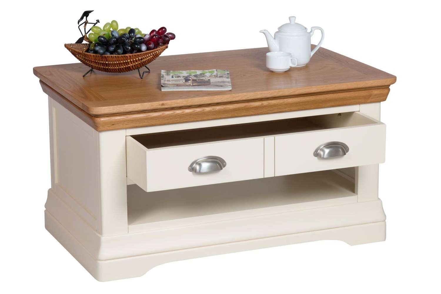 Farmhouse Cream Painted Oak Coffee Table With Drawers Intended For Preferred Cream And Oak Coffee Tables (View 9 of 20)