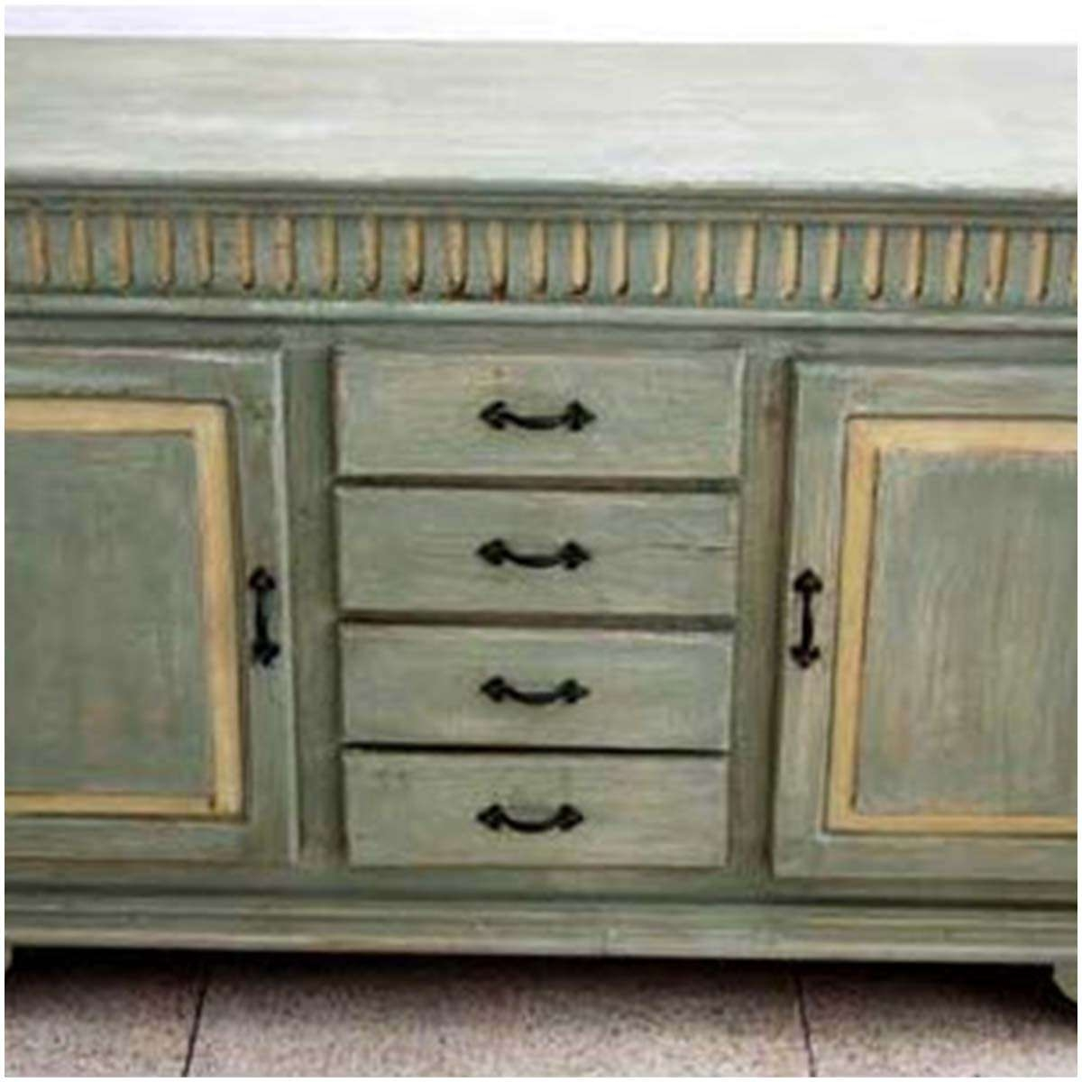 Farmhouse Distressed Hand Painted 4 Drawer Sideboard Regarding Hand Painted Sideboards (View 2 of 20)