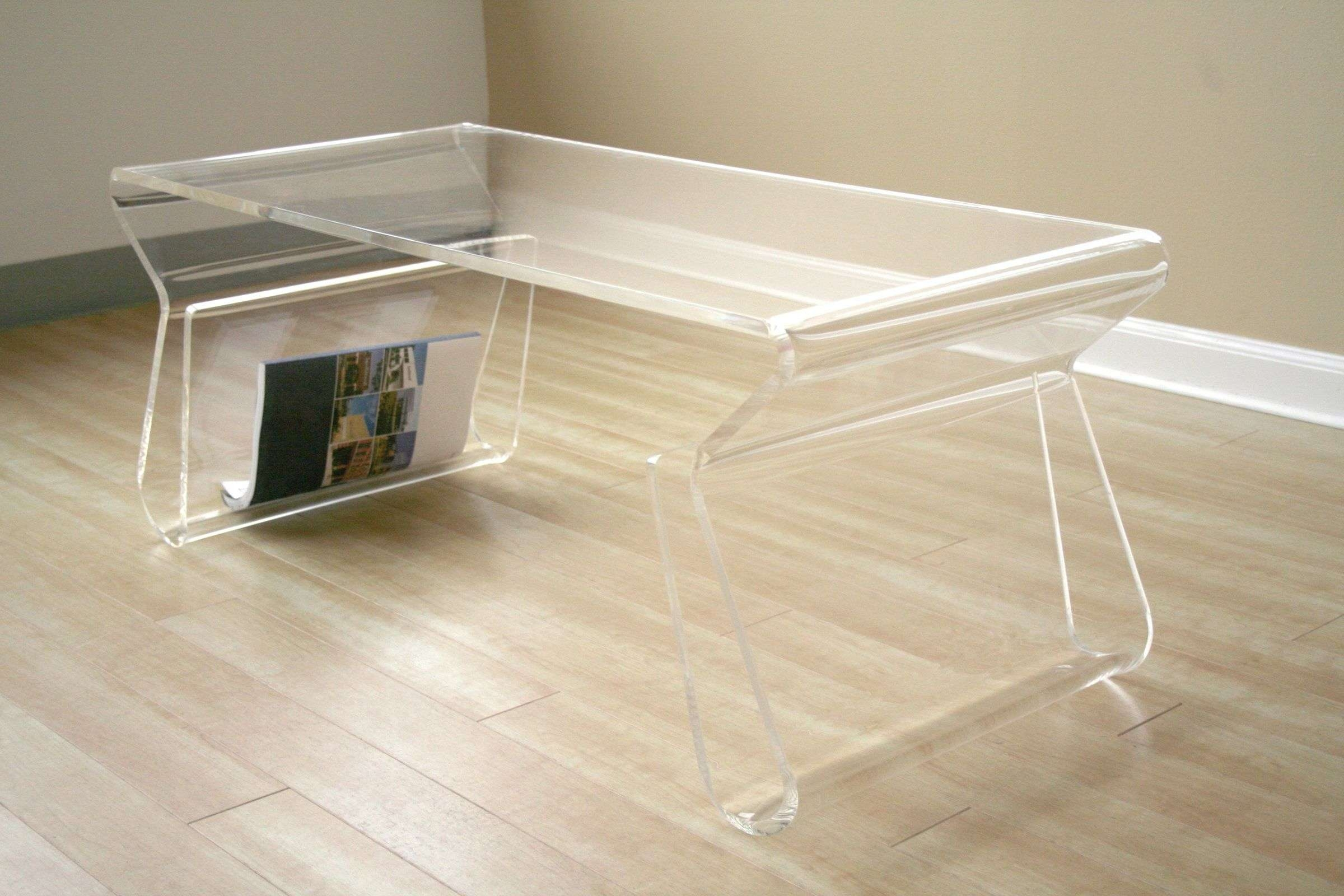 Fashionable Acrylic Coffee Tables With Magazine Rack For Clear Coffee Table – Writehookstudio (View 16 of 20)