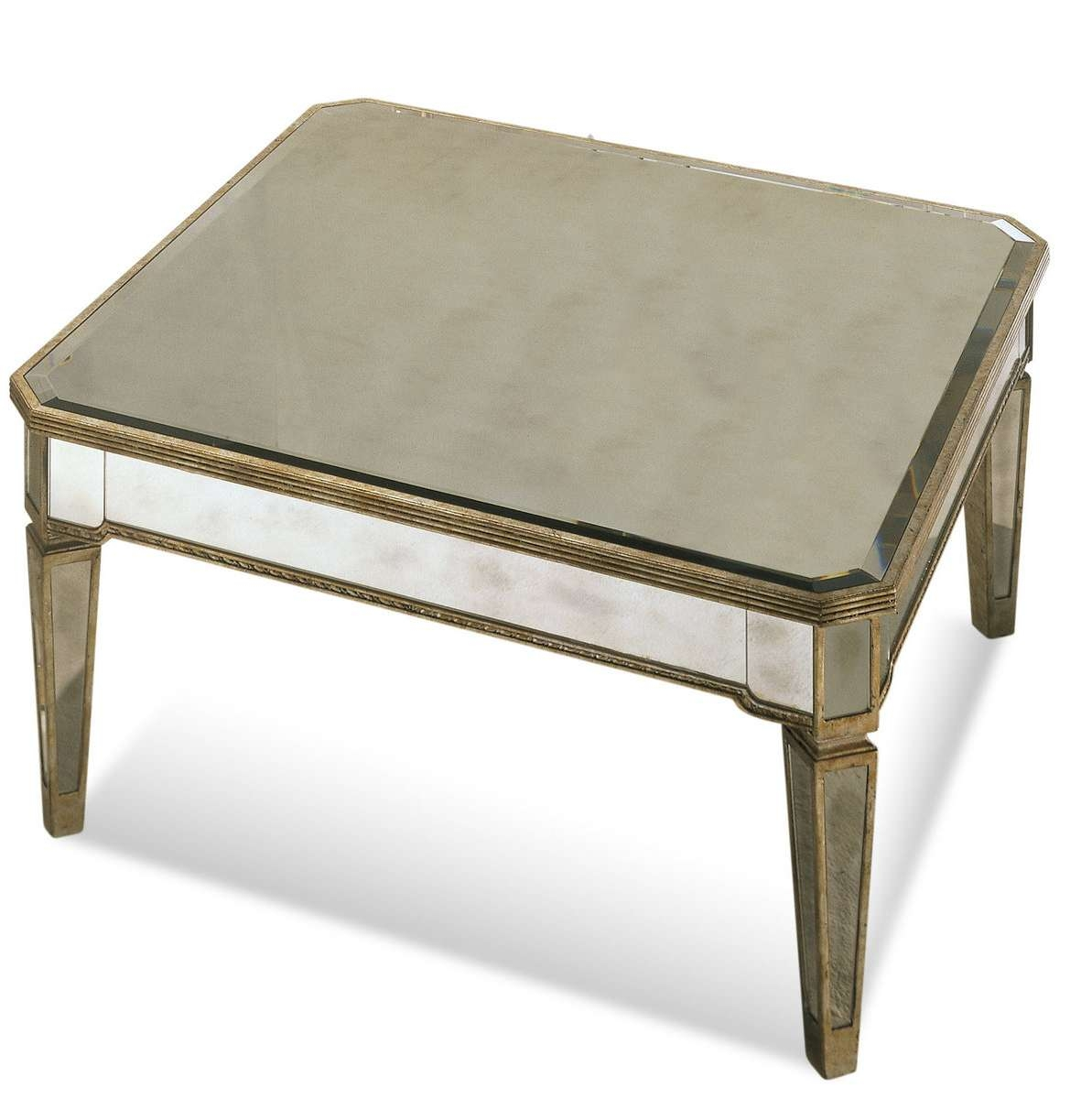 Fashionable Antique Mirrored Coffee Tables Regarding Borghese Mirrored Square Cocktail Table (antique Mirror & Silver (View 7 of 20)