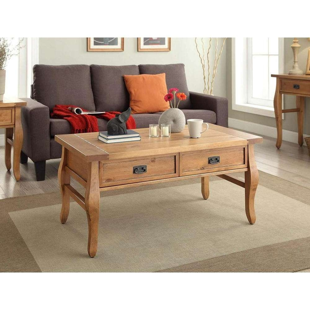 Fashionable Antique Pine Coffee Tables Throughout Linon Home Decor Santa Fe Antique Pine Coffee Table 76055Ant01U (View 11 of 20)