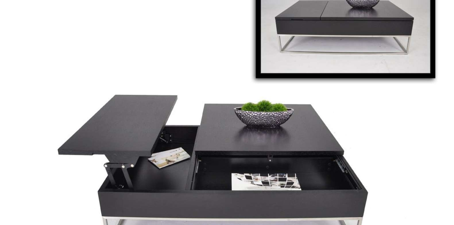 Fashionable Black Coffee Tables With Storage For Coffee Tables : Coffee Dining Table Combo Lift Top Black With (View 11 of 20)
