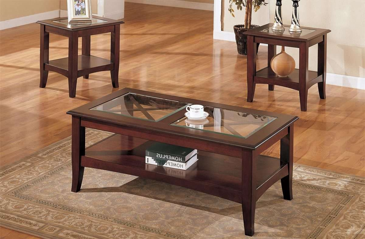 Fashionable Cheap Oak Coffee Tables Inside Wonderful Coffee And End Table Set For Living Room – Glass Coffee (View 11 of 20)