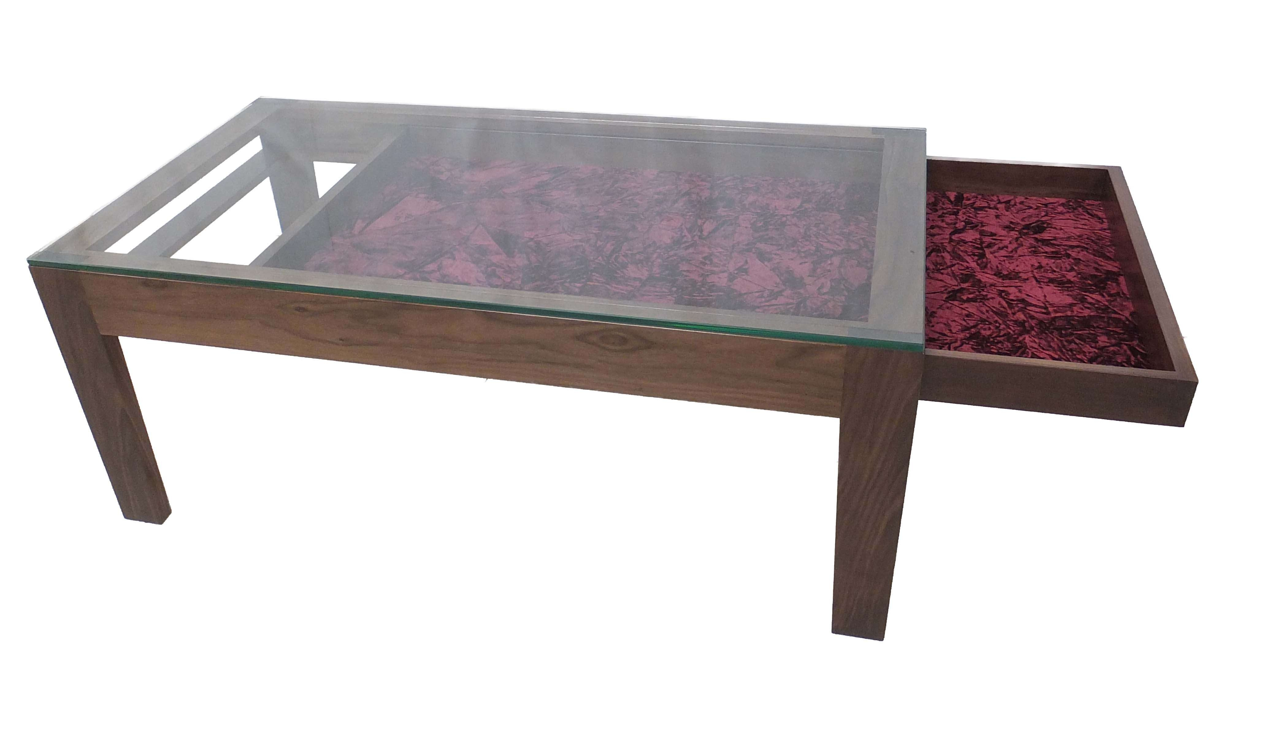 Fashionable Coffee Tables With Glass Top Display Drawer Intended For Glass Display Coffee Table Uk Made From Solid American Walnut With (View 8 of 20)