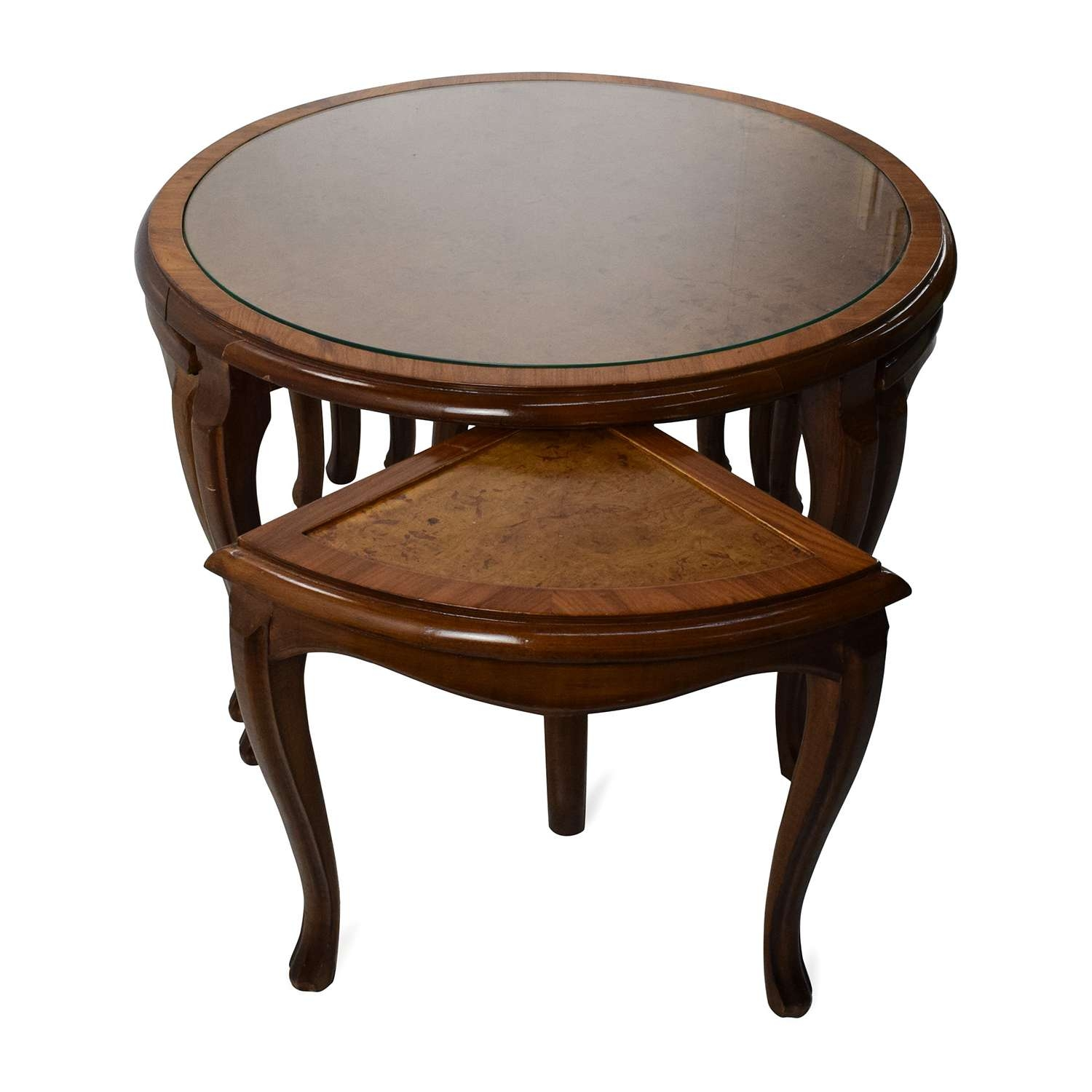 [%fashionable Coffee Tables With Nesting Stools Inside 69% Off – Round Glass Top Coffee Table With 4 Nesting Stools / Tables|69% Off – Round Glass Top Coffee Table With 4 Nesting Stools / Tables In Most Up To Date Coffee Tables With Nesting Stools%] (View 18 of 20)