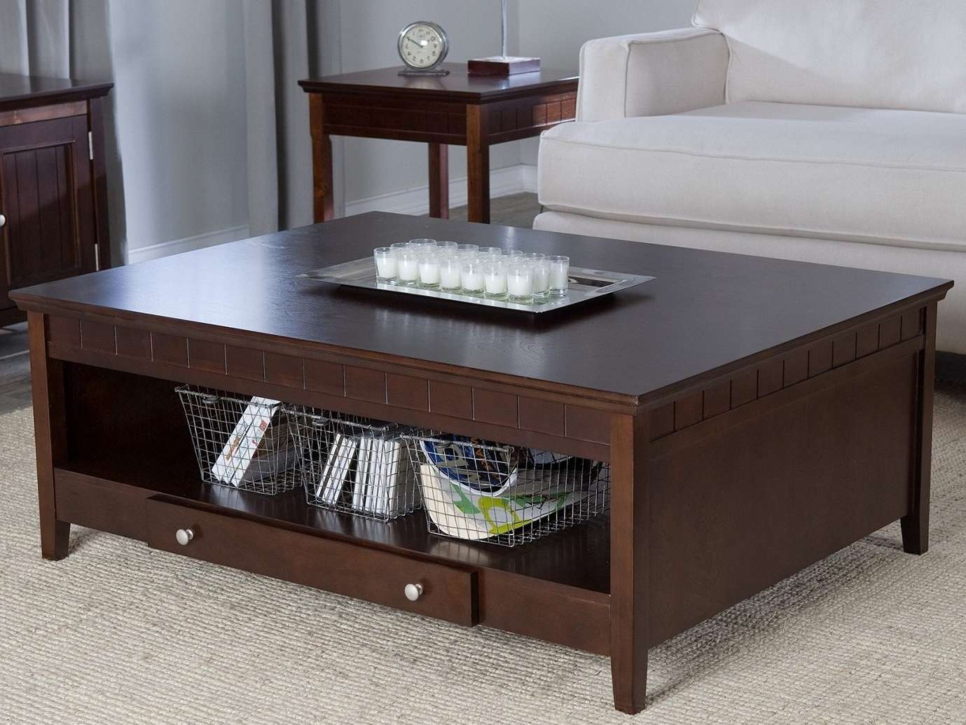 Fashionable Espresso Coffee Tables For Coffee Tables : Astonishing Espresso Coffee Table With Open Shelf (View 6 of 20)