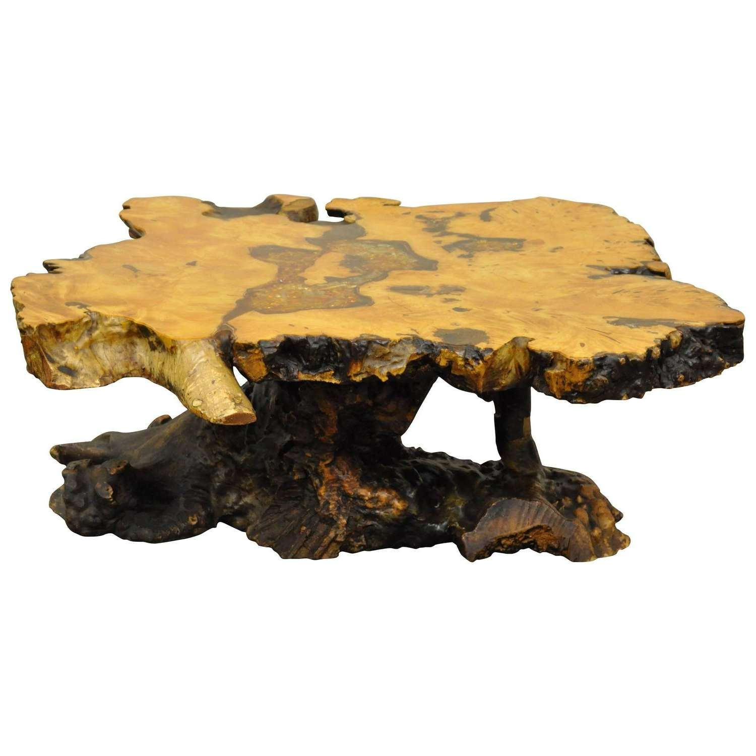"""Fashionable Free Form Coffee Tables In An Original Star Dust"""" Burlwood Co (View 6 of 20)"""